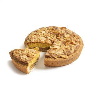 cut Frozen Almond Mid-Sized Cake