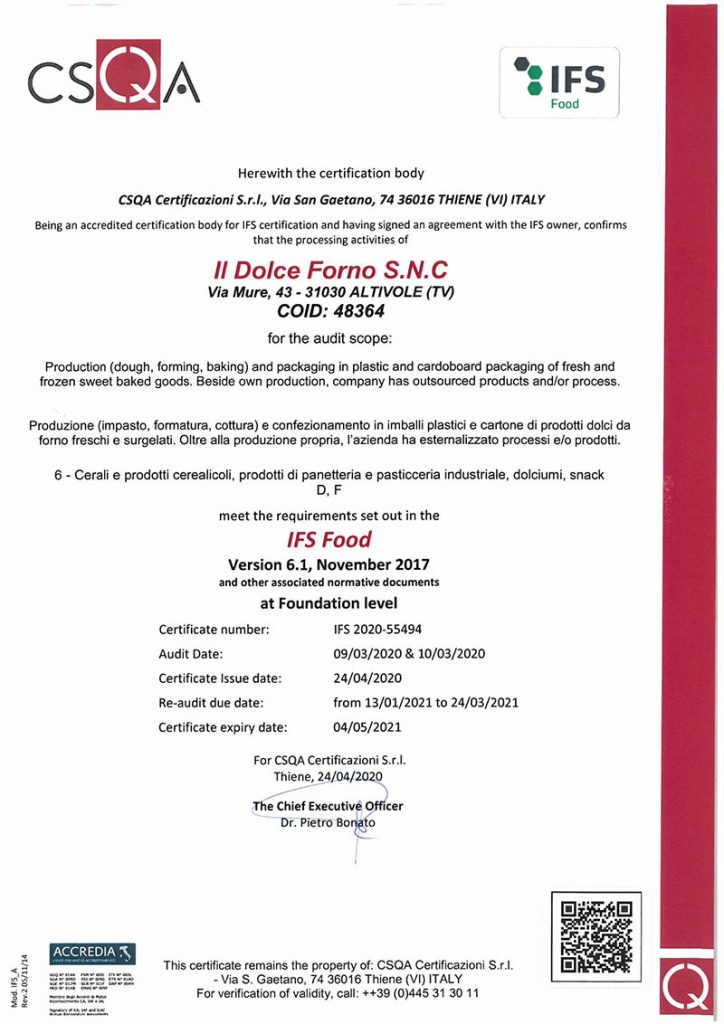 Certificazione IFS Food ottenuta da Il Dolce Forno
